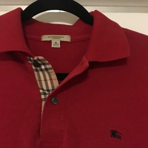 Red Men's Burberry Polo